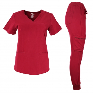 1608JG - V-neck w/ 3 welt pockets luxe stretch w/ jogger pants scrub set