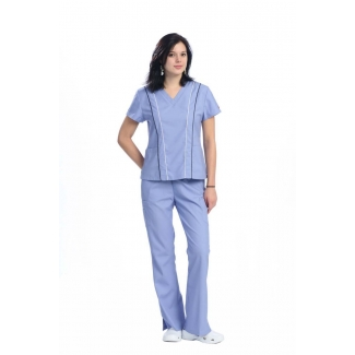 1816 - V-neck top with vertical piping scrub set