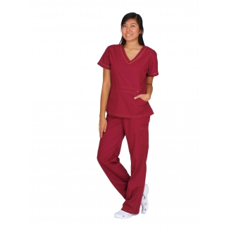 1841 - V-neck button belt detail scrub set
