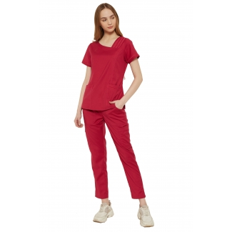19106 - Asymetrical neck w/ peekaboo ribbon stretch scrub set