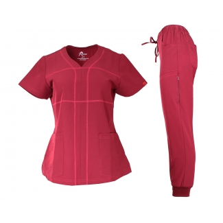 19206JG - V-neck with criss cross stitching design stretch jogger scrubs set