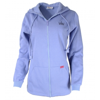JFV41 - Cotton Fleece Zip Up Crown Embroidered Hoodie