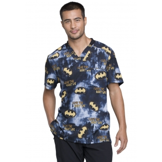 Tooniforms by Cherokee Men's V-neck TF730 DMKL (DC Batman Knight Life) Scrub Top